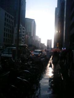 青梅街道が鏡に…。